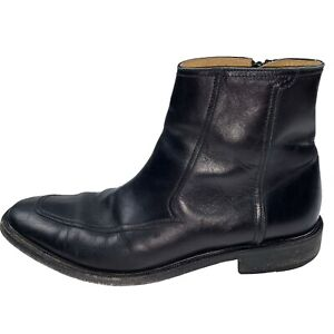Cole Haan Collection Italian Leather Ankle Boots Men's Black Side Zip US Size 8