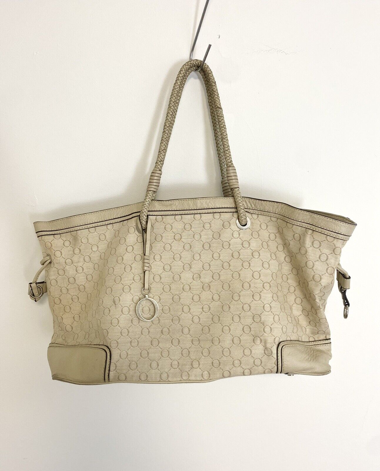 OROTON Women's Beige Signature O Monogram Handbag