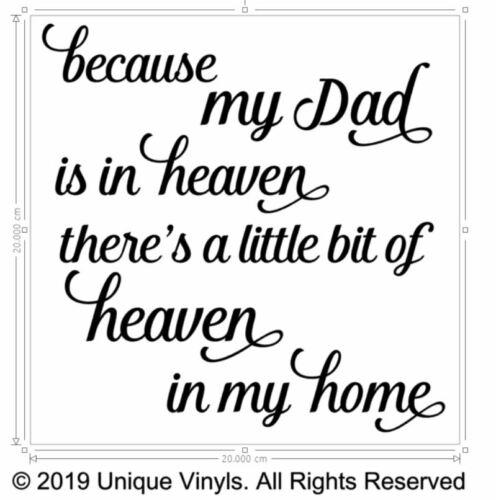 Parce que mon père est au ciel il y a un peu de paradis dans ma maison Autocollant