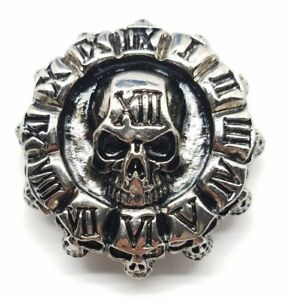 Clock-of-skulls-concho-snap-silver-leather-Gothic-biker-solid-belt-wallet-screw