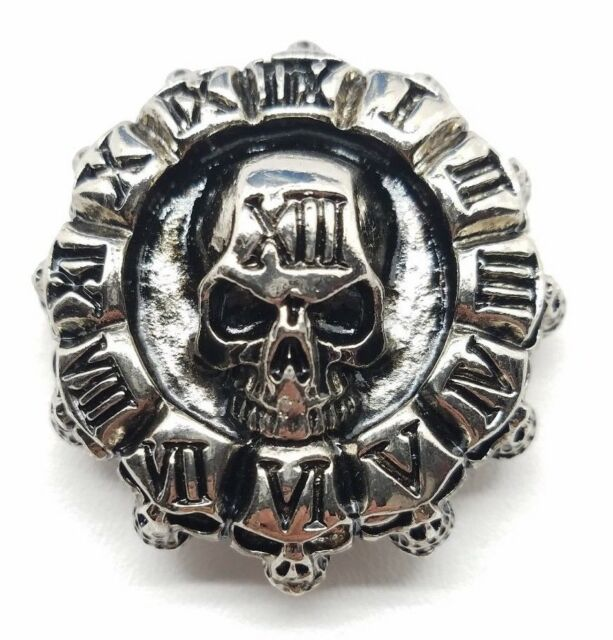 Clock of skulls concho snap silver leather Gothic biker solid belt wallet screw