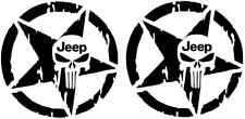 "(2)PCS JEEP STAR SKULL PUNISHER  Decal Vinyl Sticker Size-10""x10"" ASK FOR COLORS"