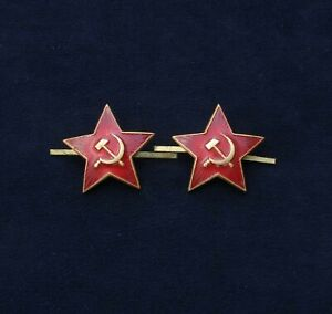 Russian-Soviet-RED-STAR-Badges-Cockade-Elements-Soldiers-uniform-apx-32mm