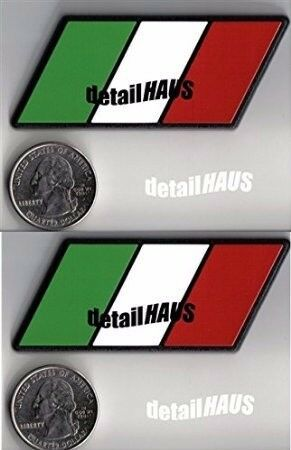 ITALIAN FLAG RACING EURO BADGE EMBLEMS FREE SHIP 2-PACK