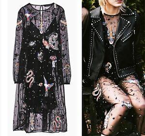 Size Uk 38 Black Dress 6 Embroidered Eu Zara Tulle Medium M 10 Midi Us Fq4axwRX1