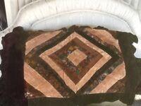 Chocolate Brown Patchwork Velvet Queen Size Pillow Sham