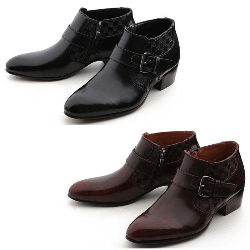Zapatos De Vestir Mooda para hombres Cuero Genuino Tobillo botas Formal roywon Chelsea