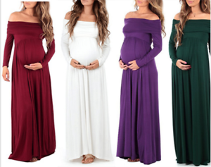 Women-Pregnant-Long-Sleeved-Maxi-Maternity-Off-Shoulder-Dress-Photography-Props