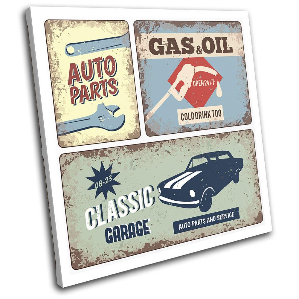 Garage Car Work Shop Retro Vintage SINGLE TOILE murale ART Photo Print