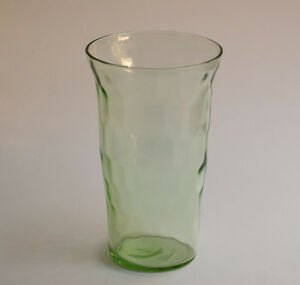 Green-Depression-Juice-Glass-Jeanette-Hex-Optic-Honeycomb-4-in-Tall-Flat-Bottom