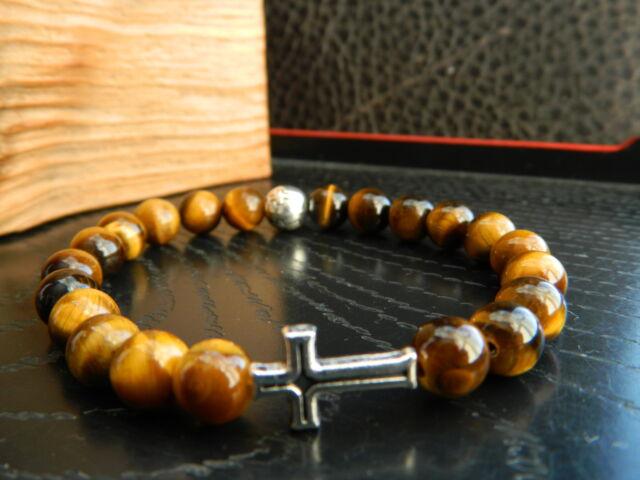 Men Natural Tiger's Eye Beaded Cross Bracelet. Hip Hop.Gift.
