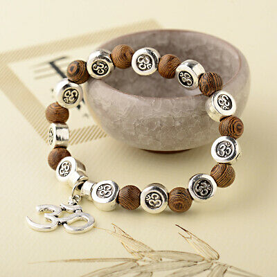 Wood Chakra Meditation Yoga Men Women Buddhas Beaded Wooden Friendship Beads one