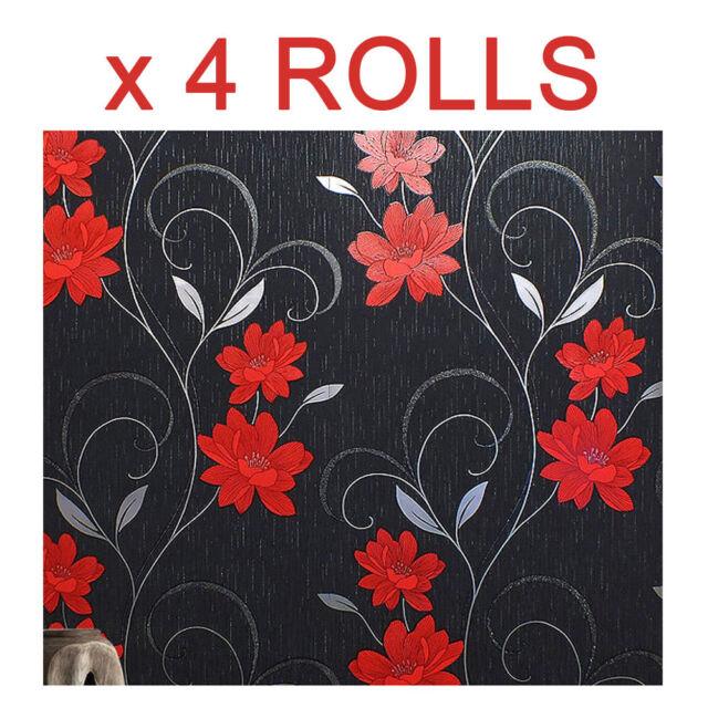 Rasch Rose Flower Pattern Wallpaper Metallic Floral Leaf Glitter Textured 308419