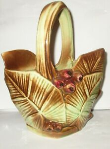 Vintage 1940 McCoy U.S.A. Pottery Berry and Leaf Design Basket Planter