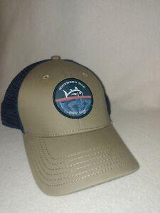 Men Southern Tide Navy Blue Tan Mesh Fish Trucker Cap Baseball Hat Size One Size