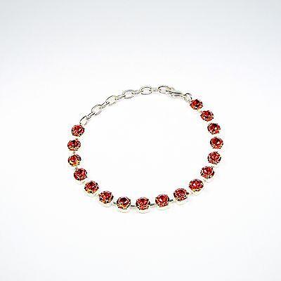 Damen Armband Tennis 925 Silber Versilbert Swarovski Kristalle Rot uni