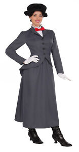 Adult Women's Mary Poppins Magical Nanny Classic Gray Halloween Costume Dress