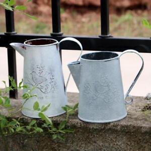 2pcs-Rustic-Metal-Jug-Vintage-Shabby-Pitcher-Flower-Buckets-Embossed-Vase