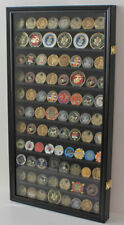 LOCKABLE Large 108  Challenge Coin Display Case Cabinet, with Real Glass Door,