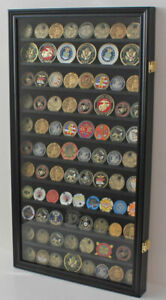 LOCKABLE-Large-108-Challenge-Coin-Display-Case-Cabinet-Pin-Medal-Glass-Door