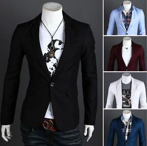 Fashion-Stylish-Men-039-s-Casual-Slim-Fit-One-Button-Suit-Blazer-Coat-Jacket-Tops