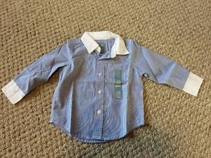 cde938eaf New w/Tags*GAP Baby/Infant Boy's Blue Striped Dress Shirt w/Collar ...