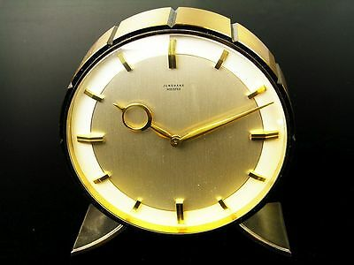 A BIG LATER ART DECO BAUHAUS  BRASS CHIMING  DESK CLOCK  JUNGHANS MEISTER