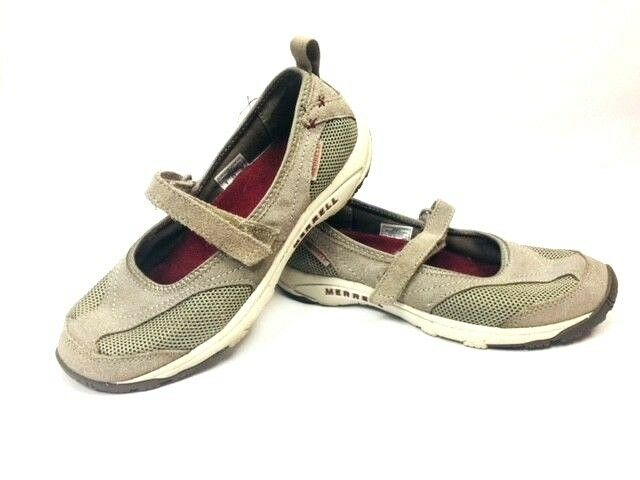 Merrell Air Cushion women's size 8 tan Mary Jane style slip on mules shoes