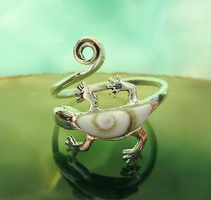 Ring-Shiva-Eye-Gecko-Salamander-Symbol-der-Schamanen-Silber-925-verstellbar