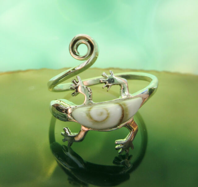 Ring Shiva Eye Gecko Salamander Symbol d Schamanen Silber 925 verstellbar