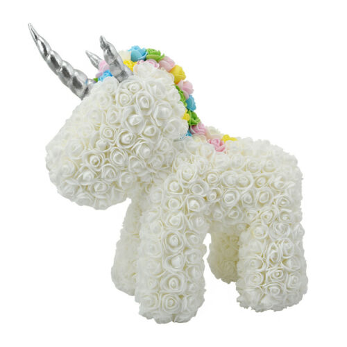 Rose Unicorn With Artificial Flowers Valentine Gift For Girlfriend Wife Wedding