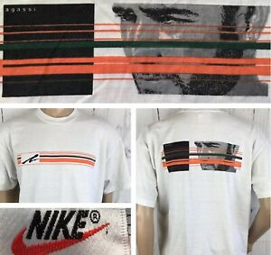96343b29 Vintage NIKE Andre Agassi T-Shirt Graphic Tee Swoosh Spell Out 90s ...