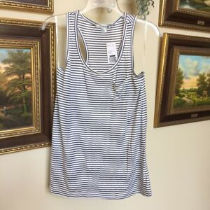 Forever-21-Women-039-s-Navy-Cream-Striped-Knit-Sleeveless-Top-With-Pocket-Size-L-NWT