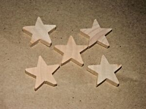 5-pc-Set-New-Raw-Unfinished-Wood-Craft-1-034-Star-Lot-Made-in-USA