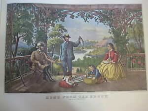 Vintage-Currier-amp-Ives-America-Color-Print-Home-From-The-Brook