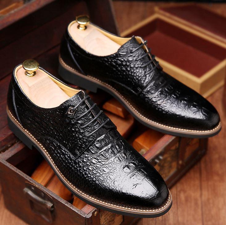 Men's alligator patent leather dress Lace Up Dress formal shoes business Oxfords