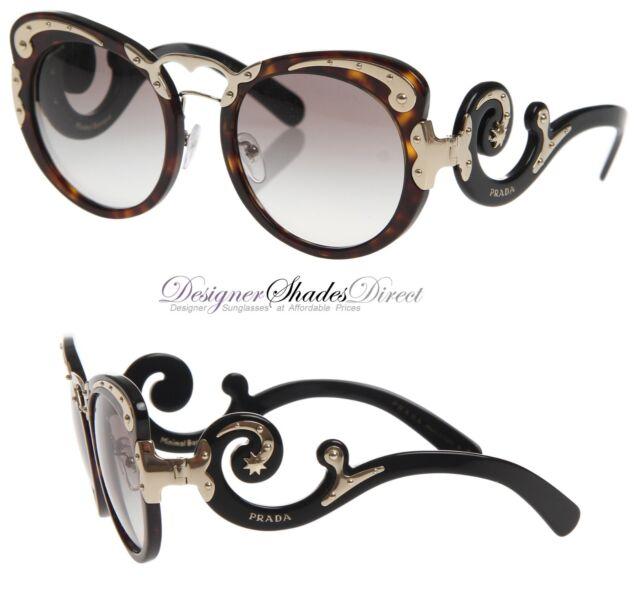 3365e8a83dbfc Prada Sunglasses Black Brown Havana Gold Round Vintage Classic 0PR07TS  2AU0A7