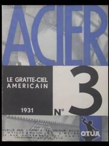 Acier N°3 1931 - Gratte Ciel Americain, Empire State Building Remises Vente