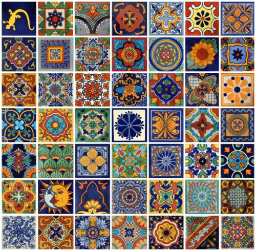 "100 Handmade Ceramic Mexican Tile Folk Art 4x4/"" Mix Desings  50 D"