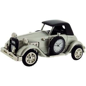 Miniature-Old-Fashioned-Car-Novelty-Desktop-Collectors-Clock-Silvertone-9861