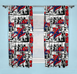 """NEW SPIDERMAN """"METROPOLIS"""" PAIR OF CURTAINS BOYS WHITE BEDROOM - 66 x 54 Inch"""