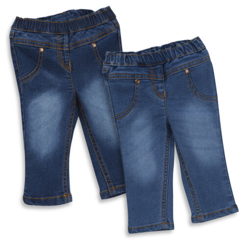 Girls Elastic Waist Denim Jeans Trousers ~ 3 Months to 6 Years Babies