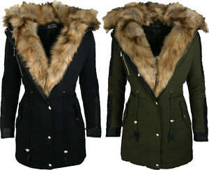 chic lady damen winter jacke parka wintermantel kunst fell kapuze neu ebay. Black Bedroom Furniture Sets. Home Design Ideas