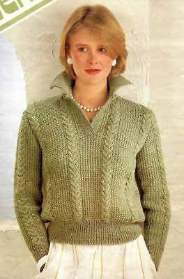 Knitting Pattern For Ladies Fashionable Collared Jumper Sweater Dk