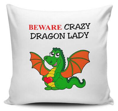Beware Crazy DRAGON LADY Cushion Cover