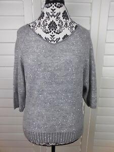 Ann-Taylor-Loft-Knit-Blouse-Womens-Petite-Medium-Gray-Sparkle-Casual-Top-Shirt