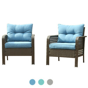 Outdoor Patio Furniture 2 PCS Rattan Sofa Wicker Single Chair W/ Cushions Set