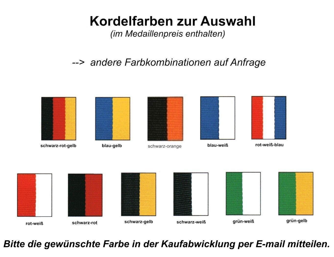 50 Stk.Medaillen Stk.Medaillen Stk.Medaillen D12C (d=40mm) SILBER mit Emblem & Kordel nur 34,25 EUR a6ed91