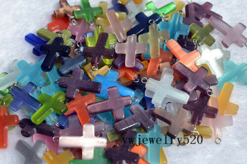 Wholesale 100pcs Cat Eye Cross Glass Beads Pendants fit European Bracelet Luck