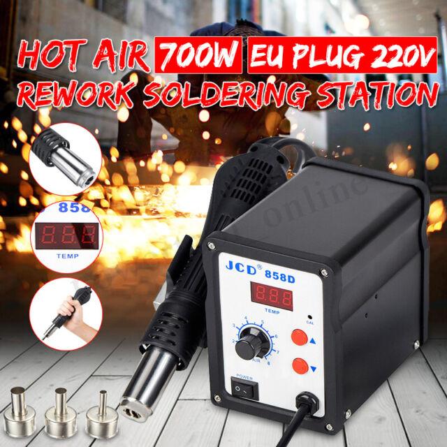 858D Soldering Rework Station Iron Desoldering Hot Air Gun Tool W// 3 Nozzles US